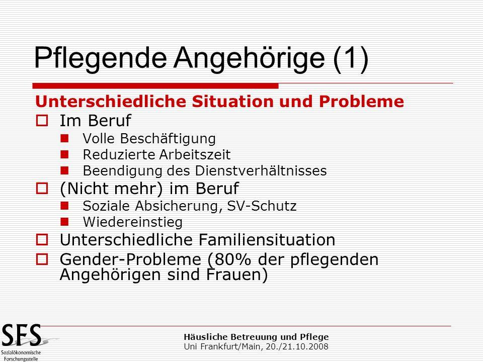 Häusliche Betreuung und Pflege Uni Frankfurt/Main, 20./21.10.2008 Unterschiedliche Situation und Probleme Im Beruf Volle Beschäftigung Reduzierte Arbe
