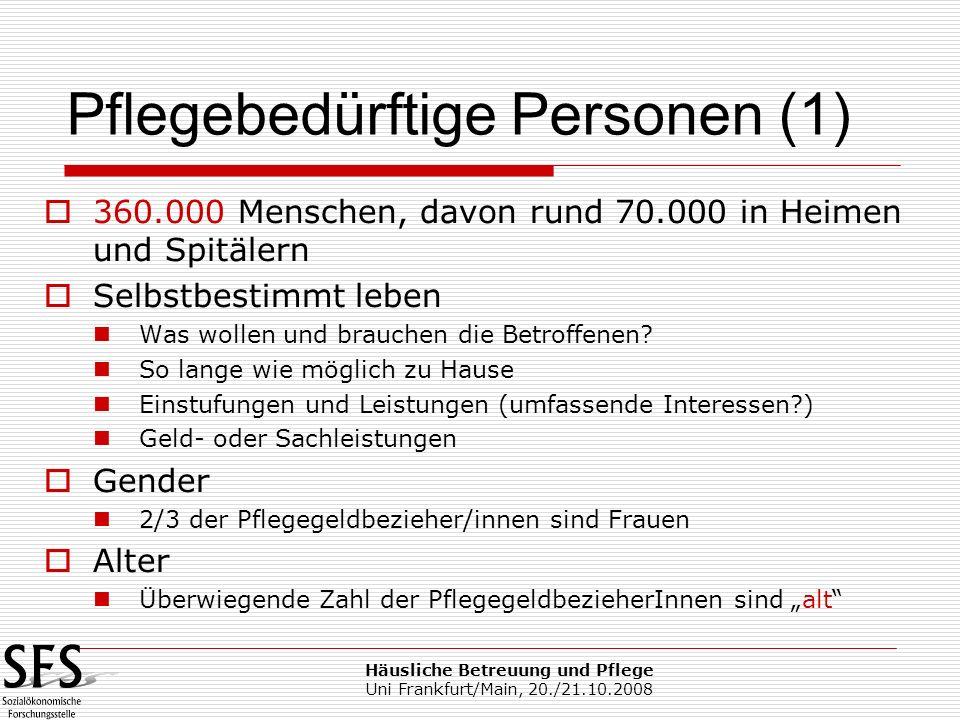 Häusliche Betreuung und Pflege Uni Frankfurt/Main, 20./21.10.2008 360.000 Menschen, davon rund 70.000 in Heimen und Spitälern Selbstbestimmt leben Was