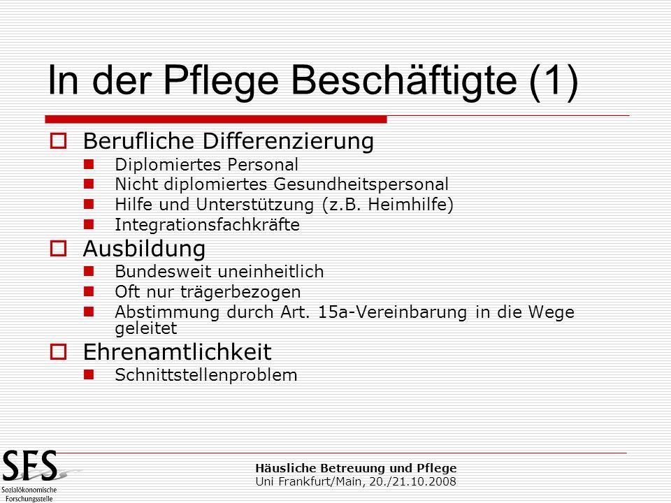 Häusliche Betreuung und Pflege Uni Frankfurt/Main, 20./21.10.2008 Berufliche Differenzierung Diplomiertes Personal Nicht diplomiertes Gesundheitsperso