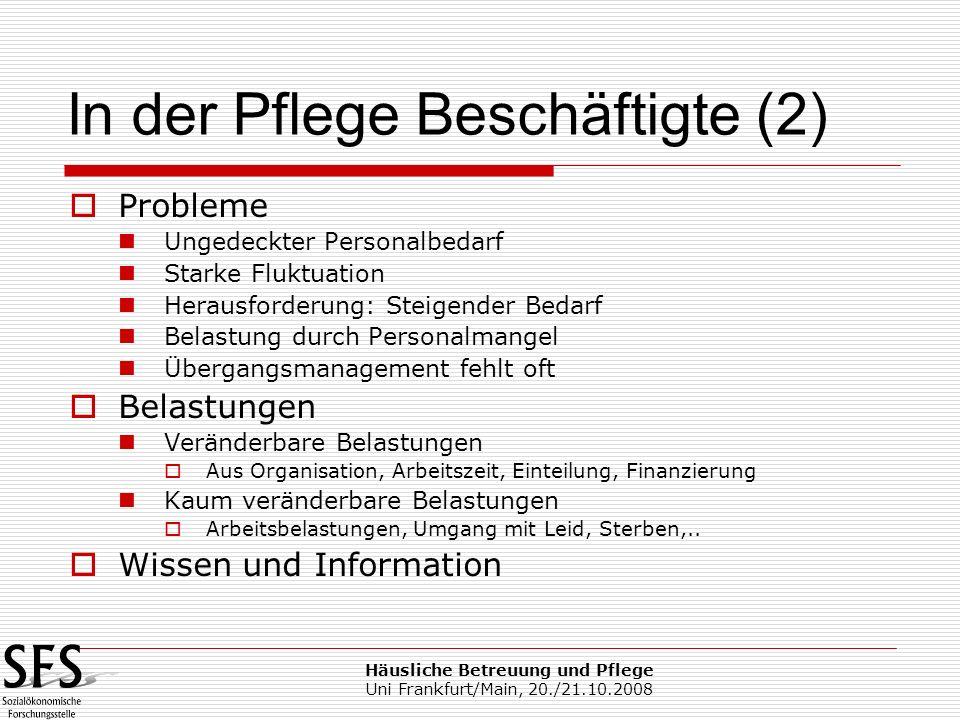 Häusliche Betreuung und Pflege Uni Frankfurt/Main, 20./21.10.2008 Probleme Ungedeckter Personalbedarf Starke Fluktuation Herausforderung: Steigender B