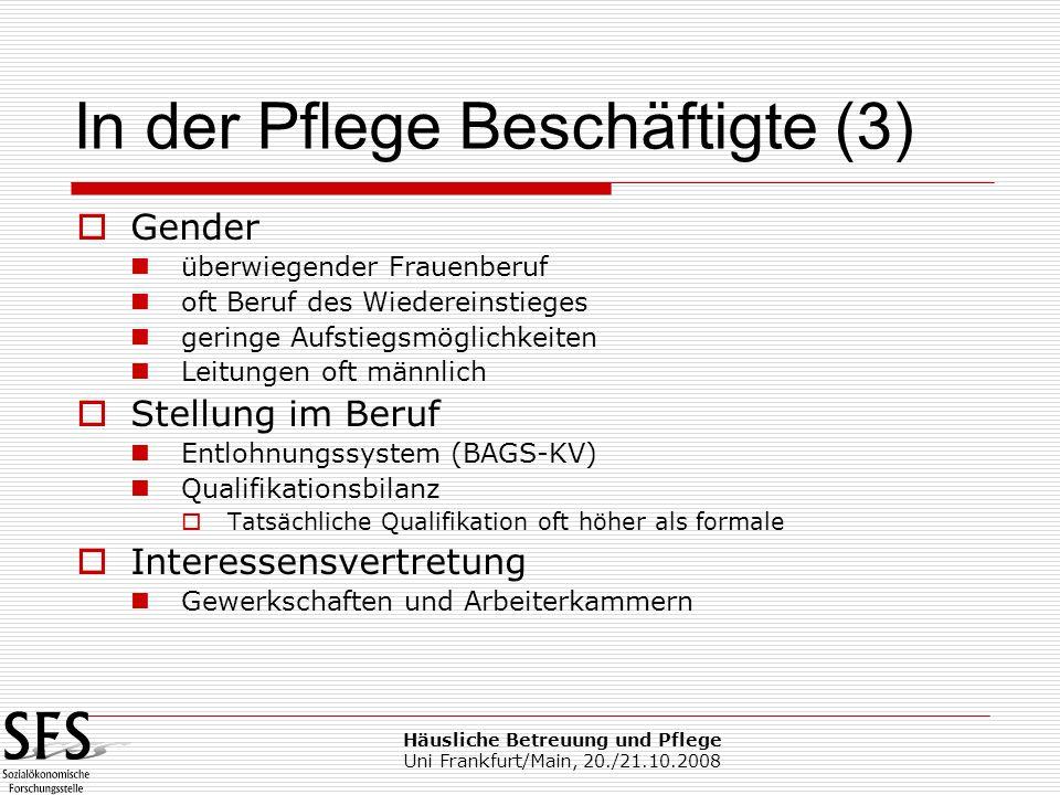 Häusliche Betreuung und Pflege Uni Frankfurt/Main, 20./21.10.2008 Gender überwiegender Frauenberuf oft Beruf des Wiedereinstieges geringe Aufstiegsmög