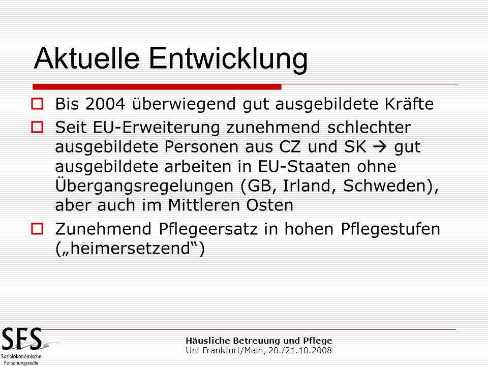 Häusliche Betreuung und Pflege Uni Frankfurt/Main, 20./21.10.2008 Bis 2004 überwiegend gut ausgebildete Kräfte Seit EU-Erweiterung zunehmend schlechte