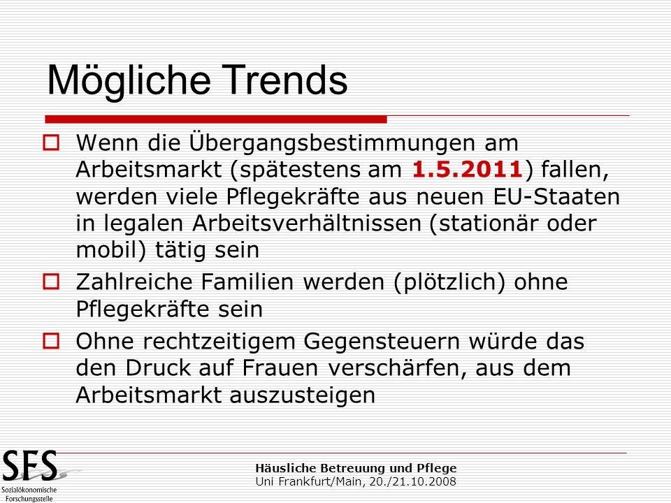 Häusliche Betreuung und Pflege Uni Frankfurt/Main, 20./21.10.2008 Wenn die Übergangsbestimmungen am Arbeitsmarkt (spätestens am 1.5.2011) fallen, werd