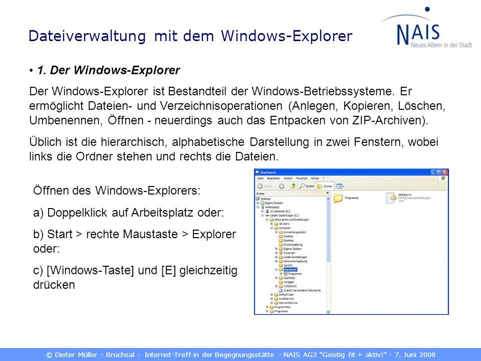 © Dieter Müller - Bruchsal - Internet-Treff in der Begegnungsstätte - NAIS AG3 Geistig fit + aktiv! - 7. Juni 2008 Dateiverwaltung mit dem Windows-Exp