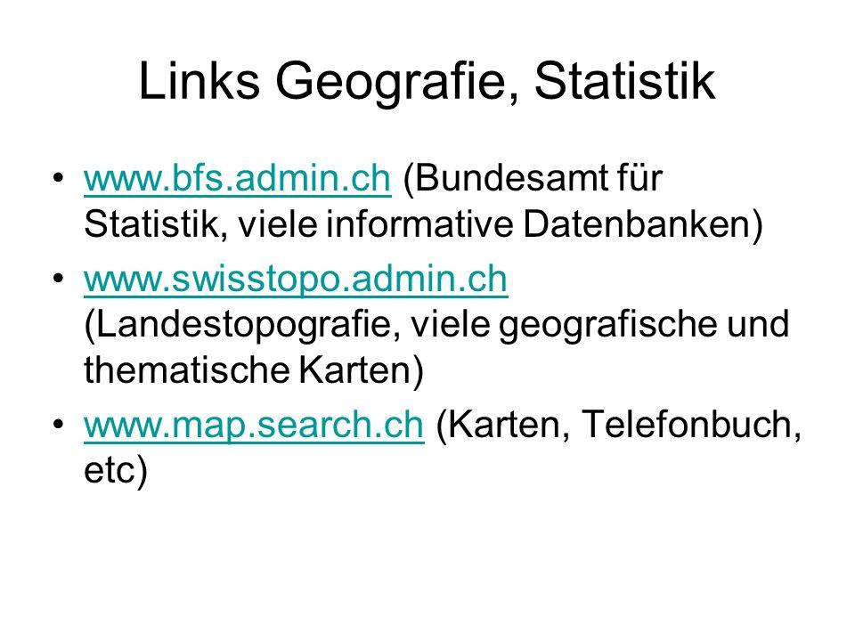 Links Geografie, Statistik www.bfs.admin.ch (Bundesamt für Statistik, viele informative Datenbanken)www.bfs.admin.ch www.swisstopo.admin.ch (Landestop