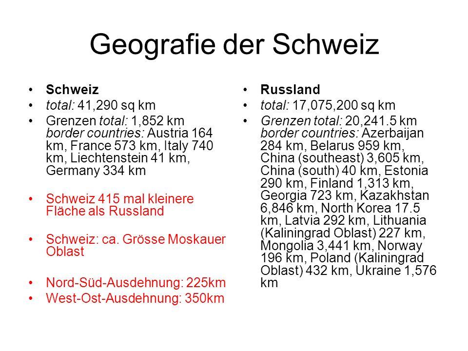 Gliederung der Schweiz Jura (12% der Landesfläche) Mittelland (23% der Landesfläche) Alpen (65% der Landesfläche) Nutzung der Fläche: Nur 20% der Bevölkerung leben im Alpenraum, 2/3 der Fläche zT landwirtschaftlich nutzbar 25% nicht nutzbar (Berge, Fels, Gletscher) 7% Siedlungsgebiete
