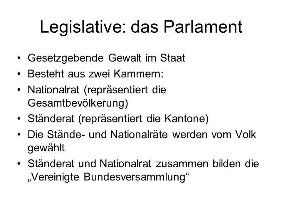 Exekutive (Regierung) Wird vom Parlament für eine vierjährige Amtszeit gewählt Die Regierung (Bundesrat) besteht aus 7 Mitgliedern (zur Zeit davon 3 Frauen) sowie dem Bundeskanzler oder Bundeskanzlerin