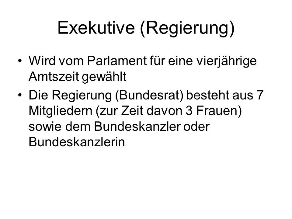 Exekutive (Regierung) Wird vom Parlament für eine vierjährige Amtszeit gewählt Die Regierung (Bundesrat) besteht aus 7 Mitgliedern (zur Zeit davon 3 F