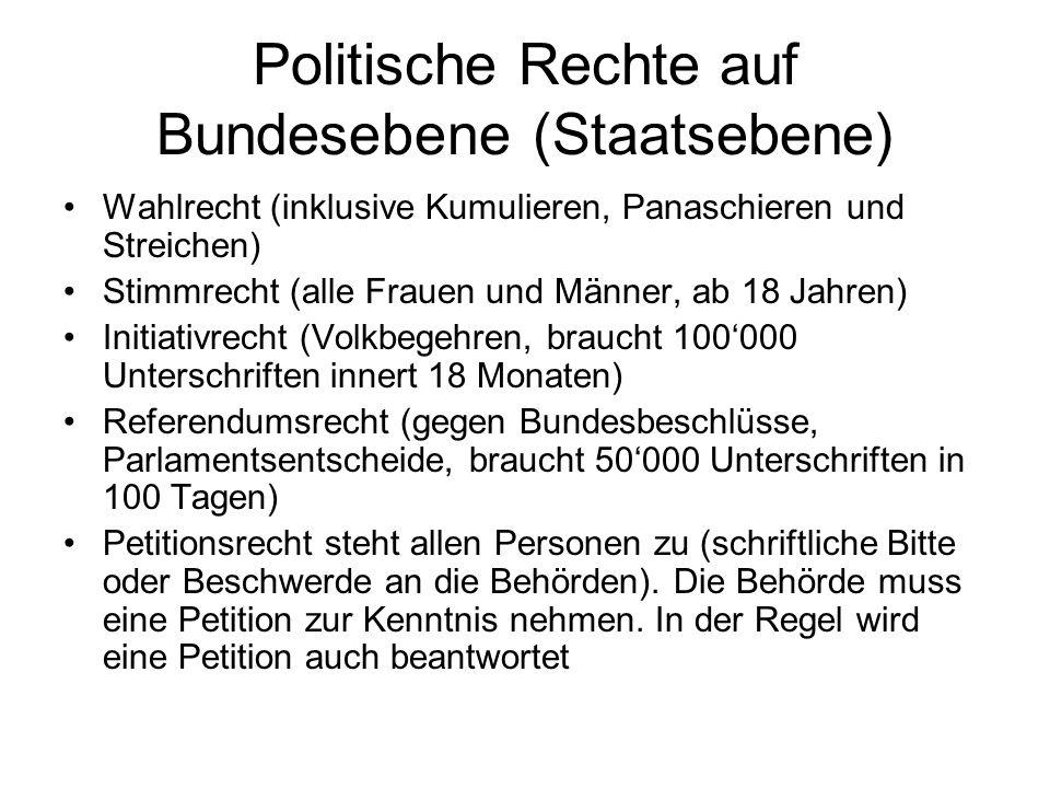 Politische Rechte auf Bundesebene (Staatsebene) Wahlrecht (inklusive Kumulieren, Panaschieren und Streichen) Stimmrecht (alle Frauen und Männer, ab 18