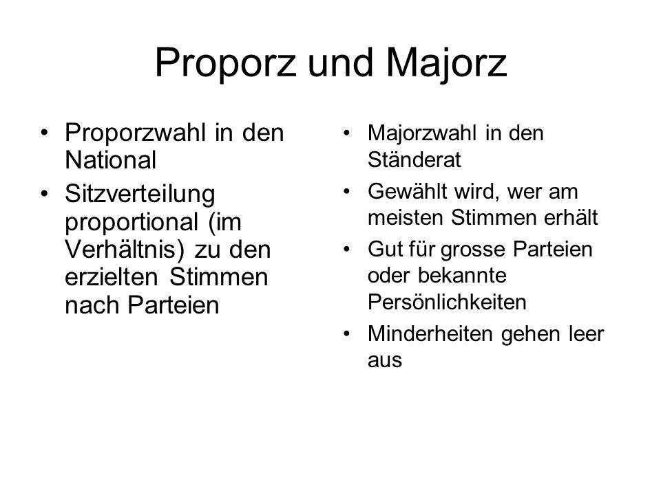 Proporz und Majorz Proporzwahl in den National Sitzverteilung proportional (im Verhältnis) zu den erzielten Stimmen nach Parteien Majorzwahl in den St