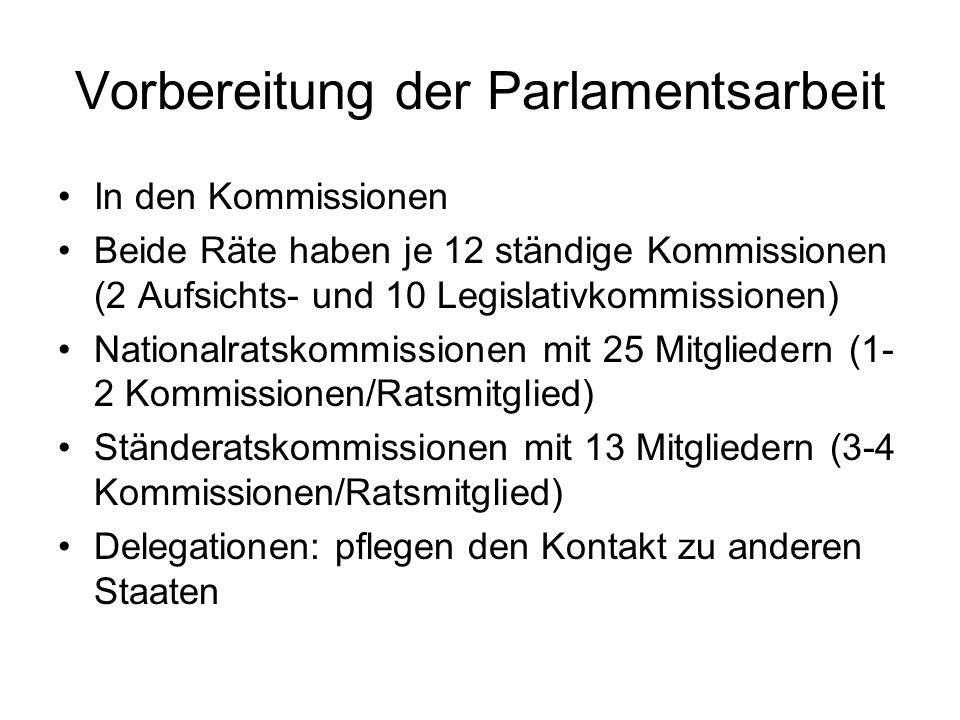 Vorbereitung der Parlamentsarbeit In den Kommissionen Beide Räte haben je 12 ständige Kommissionen (2 Aufsichts- und 10 Legislativkommissionen) Nation