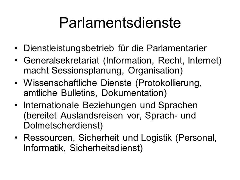 Die Schweizer Regierung (Exekutive) 7 Mitglieder (Minister), zur Zeit 3 Frauen und 4 Männer Präsident nur für ein Jahr gewählt (Primus inter pares) Repräsentationspflichten Von der vereinigten Bundesversammlung für 4 Jahre gewählt Pro Woche eine Sitzung (1-10h) Der Bundesrat entscheidet als Kollegium (jeder hat eine Stimme) Bundeskanzler hat nur Antrags- und Rederecht