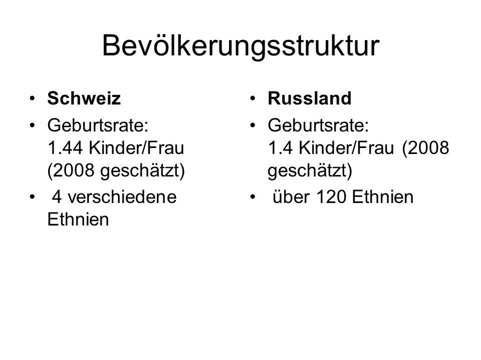 Bevölkerungsstruktur Schweiz Geburtsrate: 1.44 Kinder/Frau (2008 geschätzt) 4 verschiedene Ethnien Russland Geburtsrate: 1.4 Kinder/Frau (2008 geschät