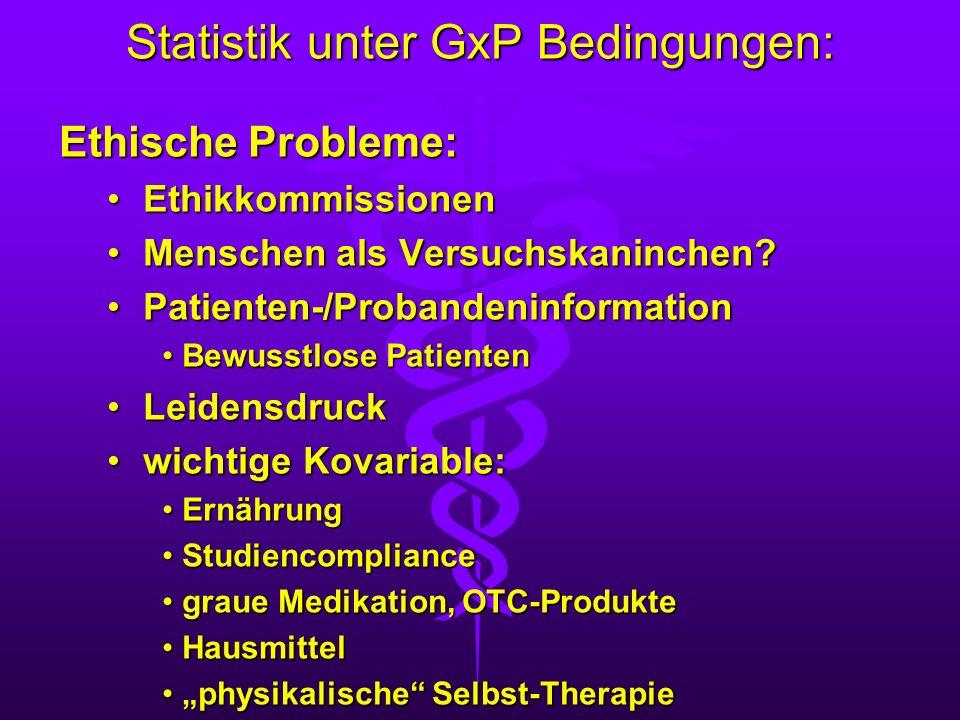 Statistik unter GxP Bedingungen: Ethische Probleme: EthikkommissionenEthikkommissionen Menschen als Versuchskaninchen?Menschen als Versuchskaninchen?
