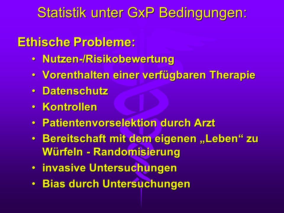 Statistik unter GxP Bedingungen: Ethische Probleme: Nutzen-/RisikobewertungNutzen-/Risikobewertung Vorenthalten einer verfügbaren TherapieVorenthalten