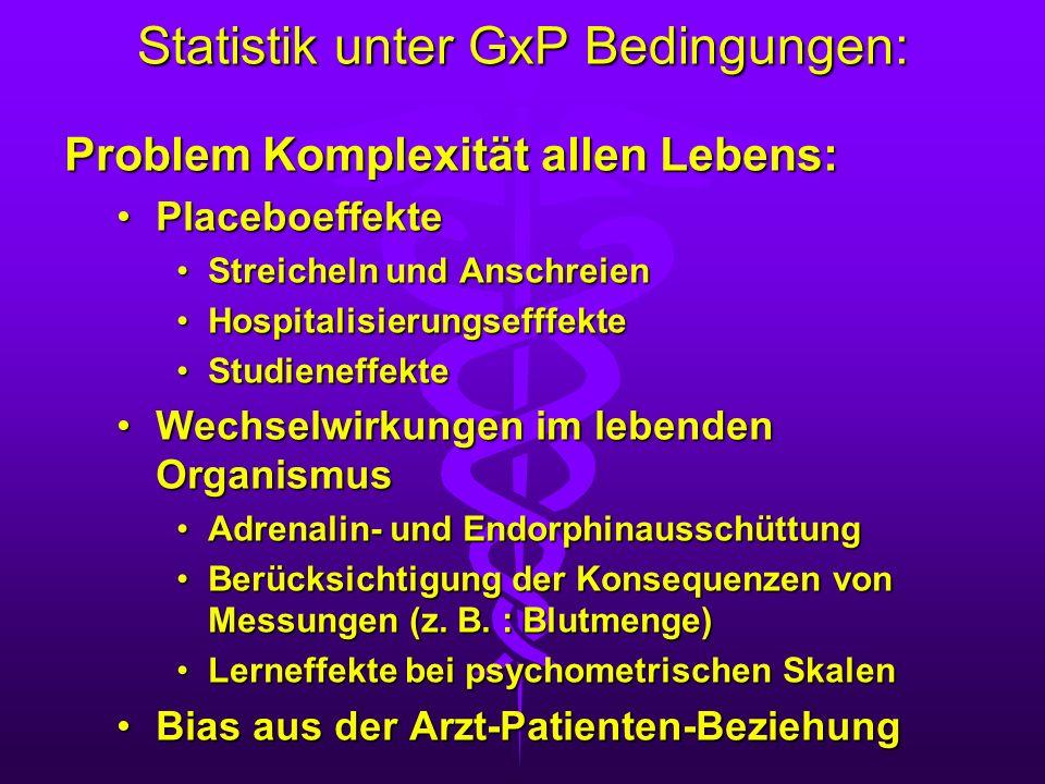 Statistik unter GxP Bedingungen: Problem Komplexität allen Lebens: PlaceboeffektePlaceboeffekte Streicheln und AnschreienStreicheln und Anschreien Hos