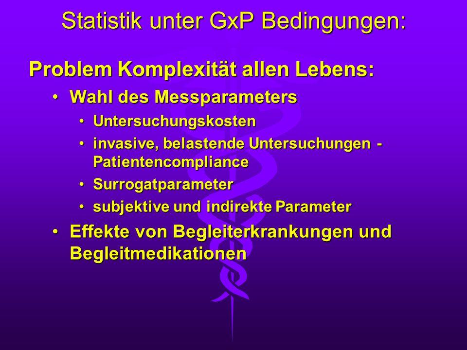 Statistik unter GxP Bedingungen: Problem Komplexität allen Lebens: Wahl des MessparametersWahl des Messparameters UntersuchungskostenUntersuchungskost