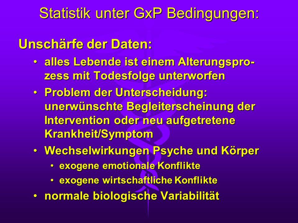 Statistik unter GxP Bedingungen: Unschärfe der Daten: alles Lebende ist einem Alterungspro- zess mit Todesfolge unterworfenalles Lebende ist einem Alt