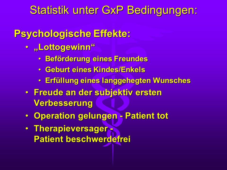 Statistik unter GxP Bedingungen: Psychologische Effekte: LottogewinnLottogewinn Beförderung eines FreundesBeförderung eines Freundes Geburt eines Kind