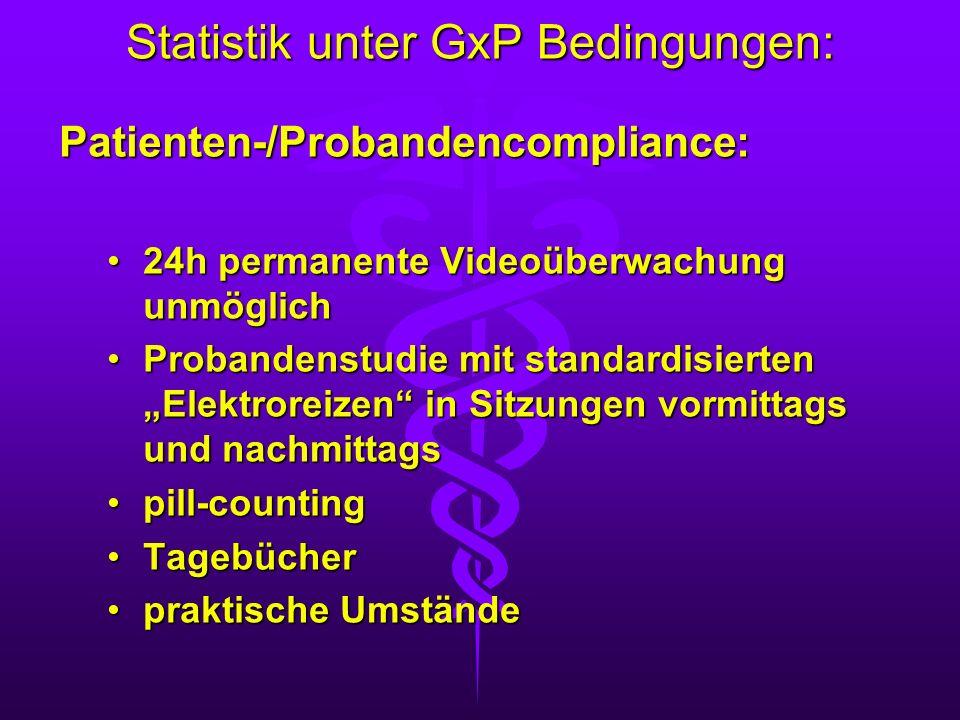 Statistik unter GxP Bedingungen: Patienten-/Probandencompliance: 24h permanente Videoüberwachung unmöglich24h permanente Videoüberwachung unmöglich Pr