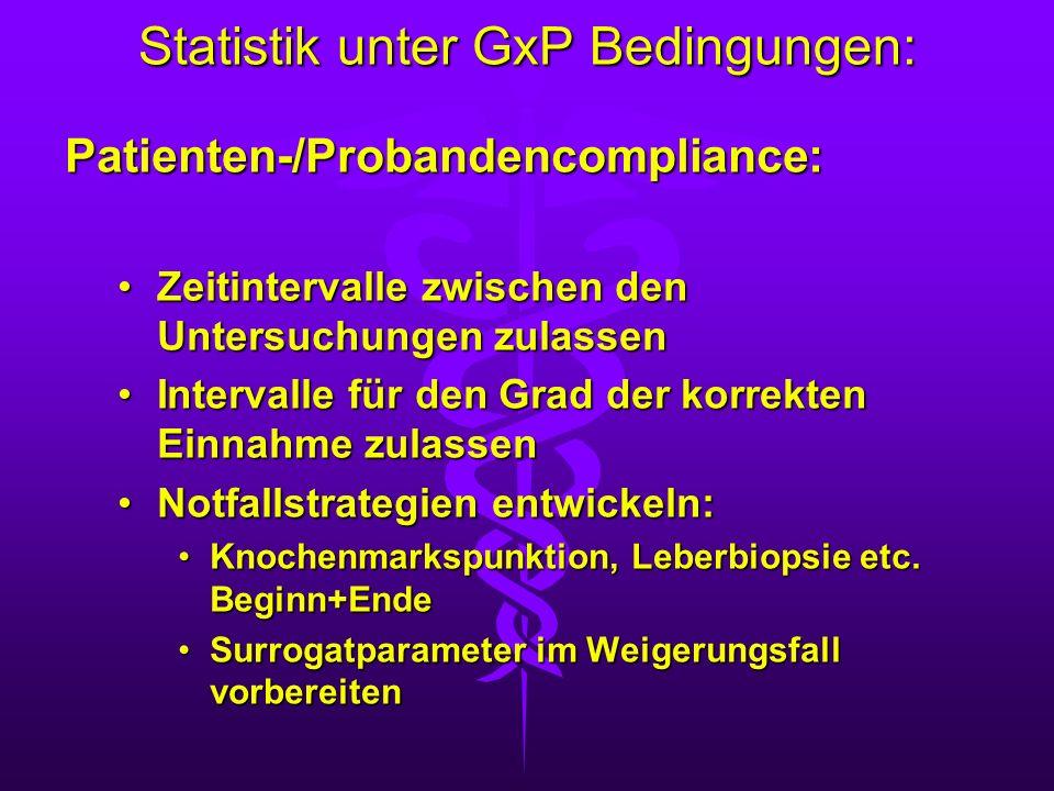 Statistik unter GxP Bedingungen: Patienten-/Probandencompliance: Zeitintervalle zwischen den Untersuchungen zulassenZeitintervalle zwischen den Unters