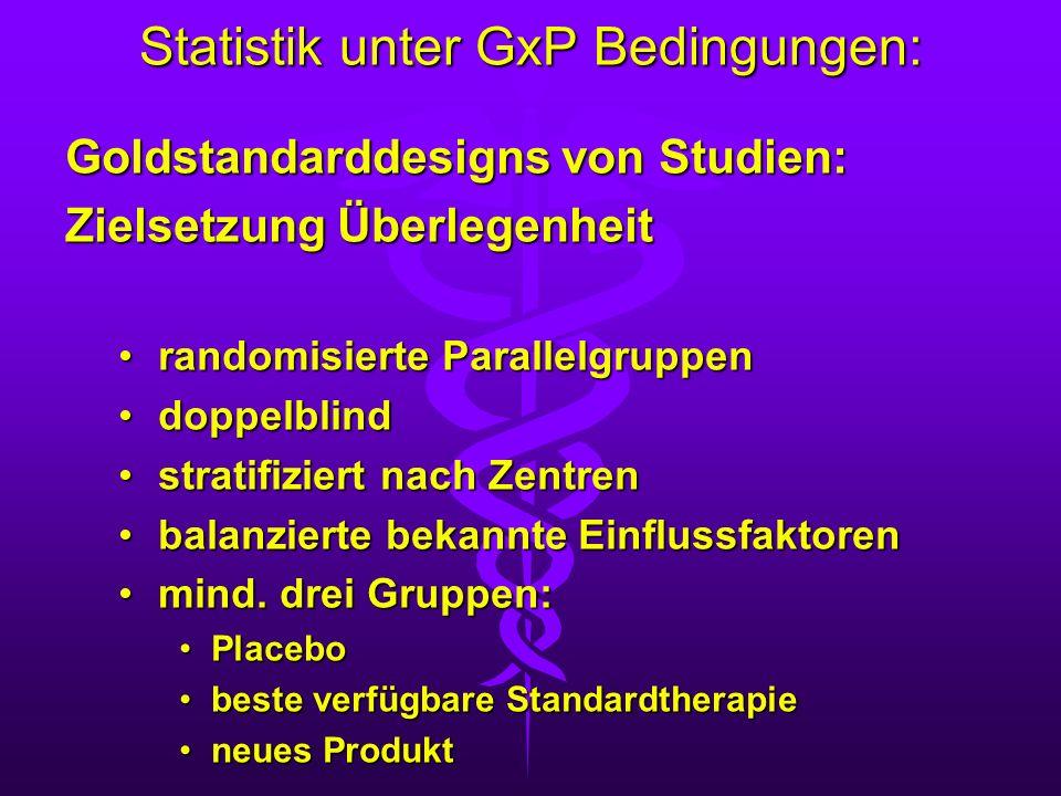 Statistik unter GxP Bedingungen: Goldstandarddesigns von Studien: Zielsetzung Überlegenheit randomisierte Parallelgruppenrandomisierte Parallelgruppen