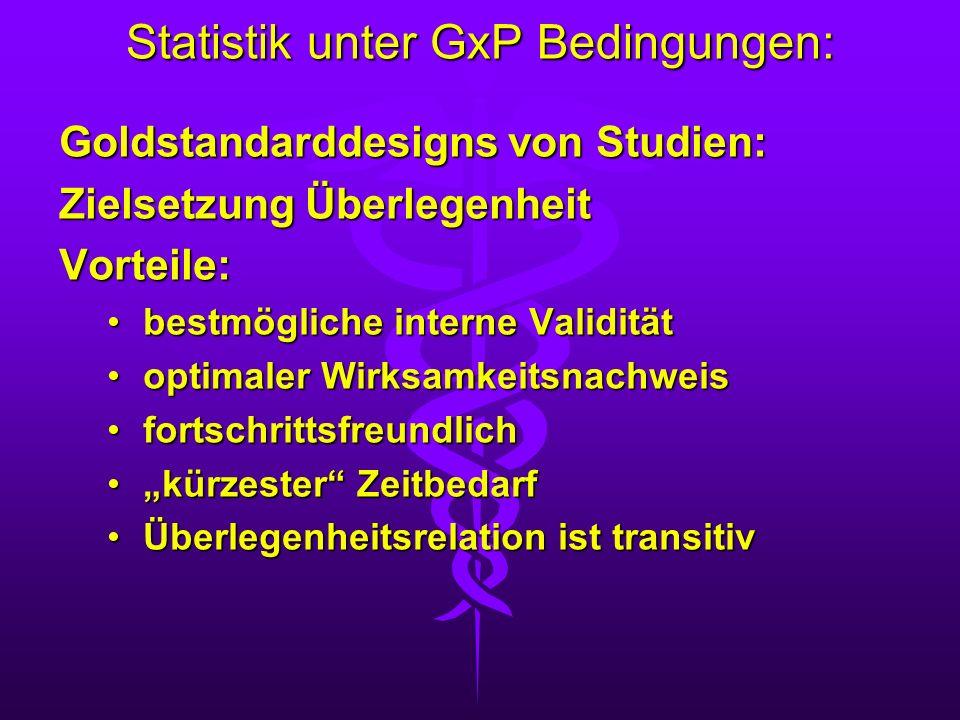 Statistik unter GxP Bedingungen: Goldstandarddesigns von Studien: Zielsetzung Überlegenheit Vorteile: bestmögliche interne Validitätbestmögliche inter