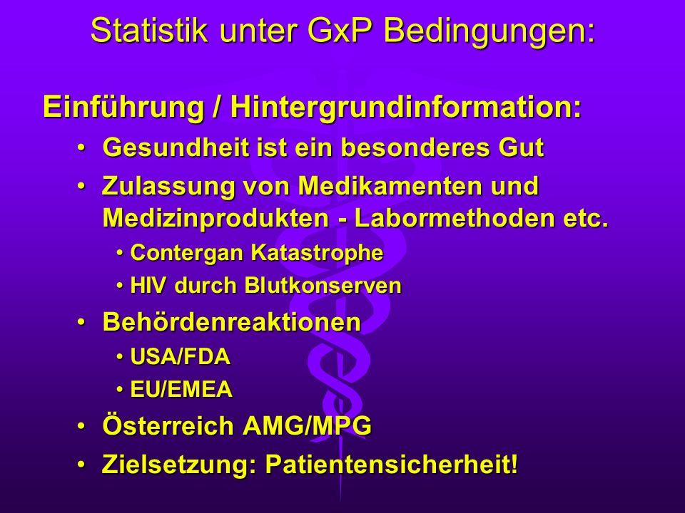 Statistik unter GxP Bedingungen: Einführung / Hintergrundinformation: Gesundheit ist ein besonderes GutGesundheit ist ein besonderes Gut Zulassung von
