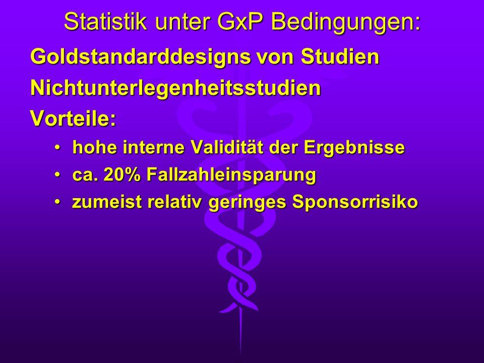 Statistik unter GxP Bedingungen: Goldstandarddesigns von Studien NichtunterlegenheitsstudienVorteile: hohe interne Validität der Ergebnissehohe intern