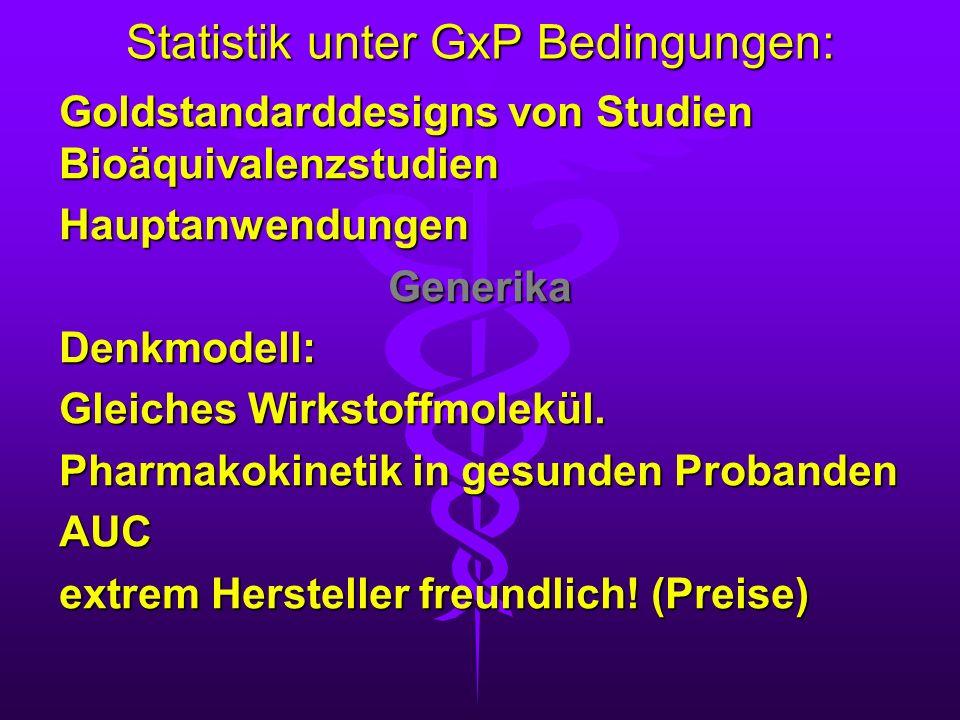 Statistik unter GxP Bedingungen: Goldstandarddesigns von Studien Bioäquivalenzstudien HauptanwendungenGenerikaDenkmodell: Gleiches Wirkstoffmolekül. P