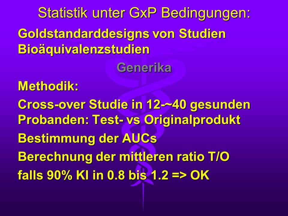 Statistik unter GxP Bedingungen: Goldstandarddesigns von Studien Bioäquivalenzstudien GenerikaMethodik: Cross-over Studie in 12-~40 gesunden Probanden