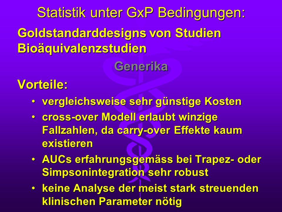 Statistik unter GxP Bedingungen: Goldstandarddesigns von Studien Bioäquivalenzstudien GenerikaVorteile: vergleichsweise sehr günstige Kostenvergleichs