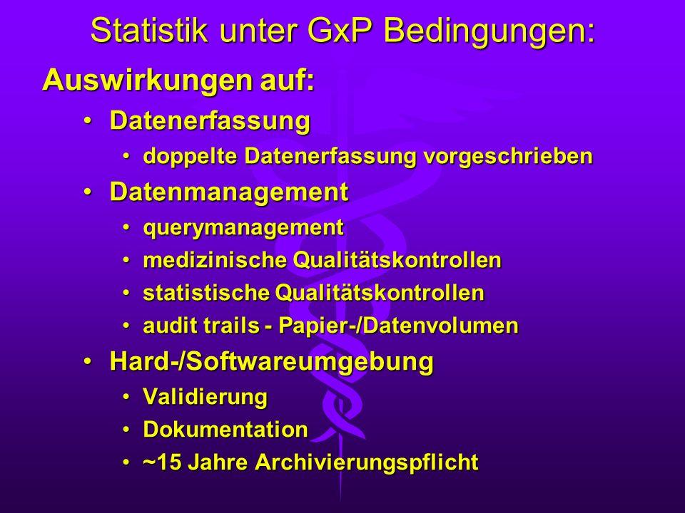 Statistik unter GxP Bedingungen: Auswirkungen auf: DatenerfassungDatenerfassung doppelte Datenerfassung vorgeschriebendoppelte Datenerfassung vorgesch