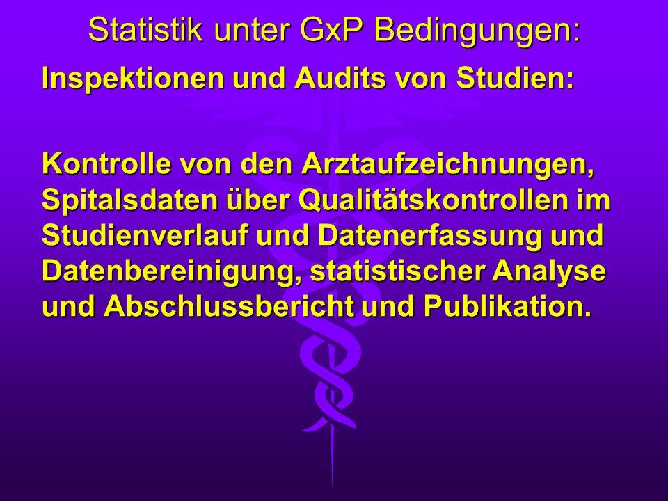 Statistik unter GxP Bedingungen: Inspektionen und Audits von Studien: Kontrolle von den Arztaufzeichnungen, Spitalsdaten über Qualitätskontrollen im S