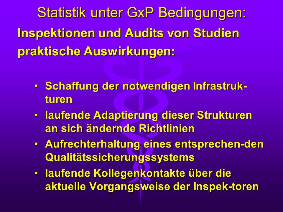 Statistik unter GxP Bedingungen: Inspektionen und Audits von Studien praktische Auswirkungen: Schaffung der notwendigen Infrastruk- turenSchaffung der