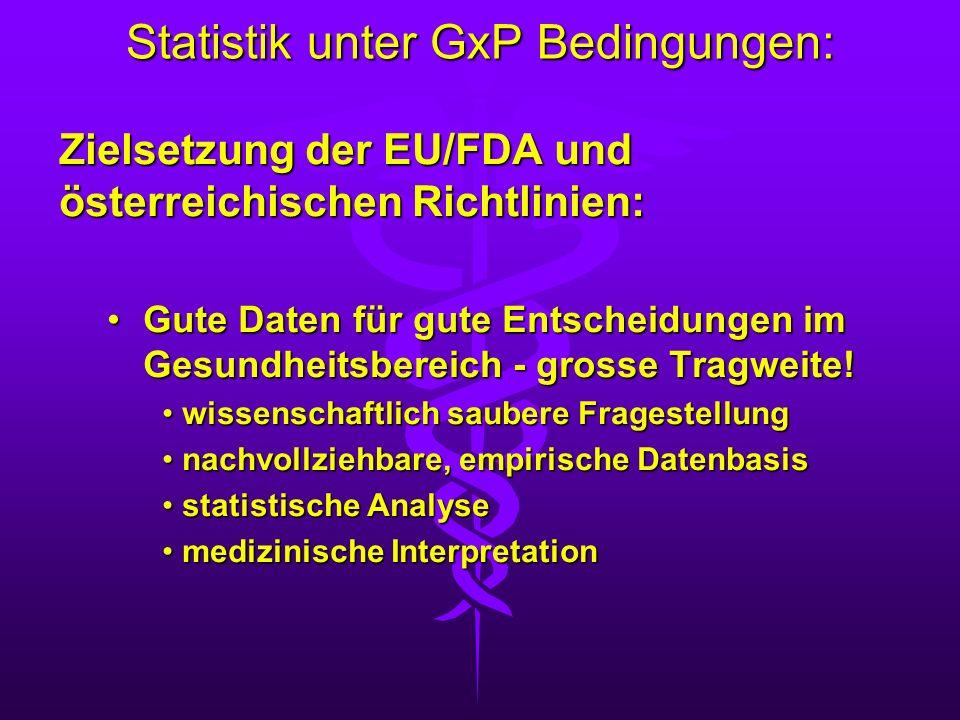 Statistik unter GxP Bedingungen: Zielsetzung der EU/FDA und österreichischen Richtlinien: Gute Daten für gute Entscheidungen im Gesundheitsbereich - g