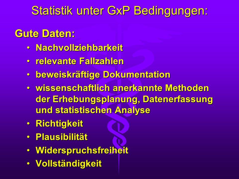 Statistik unter GxP Bedingungen: Gute Daten: NachvollziehbarkeitNachvollziehbarkeit relevante Fallzahlenrelevante Fallzahlen beweiskräftige Dokumentat