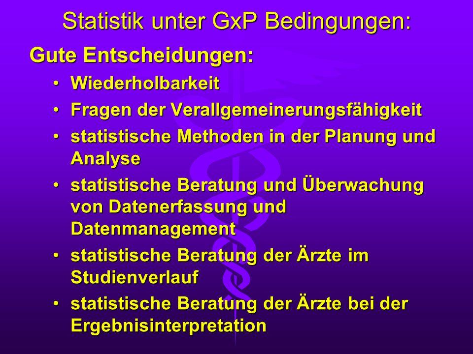 Statistik unter GxP Bedingungen: Gute Entscheidungen: WiederholbarkeitWiederholbarkeit Fragen der VerallgemeinerungsfähigkeitFragen der Verallgemeiner