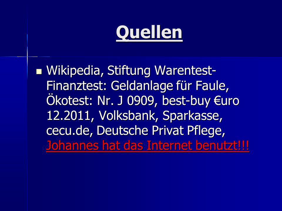 Quellen Wikipedia, Stiftung Warentest- Finanztest: Geldanlage für Faule, Ökotest: Nr. J 0909, best-buy uro 12.2011, Volksbank, Sparkasse, cecu.de, Deu