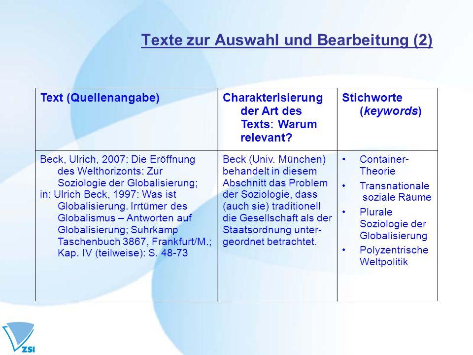 Texte zur Auswahl und Bearbeitung (2) Text (Quellenangabe)Charakterisierung der Art des Texts: Warum relevant? Stichworte (keywords) Beck, Ulrich, 200