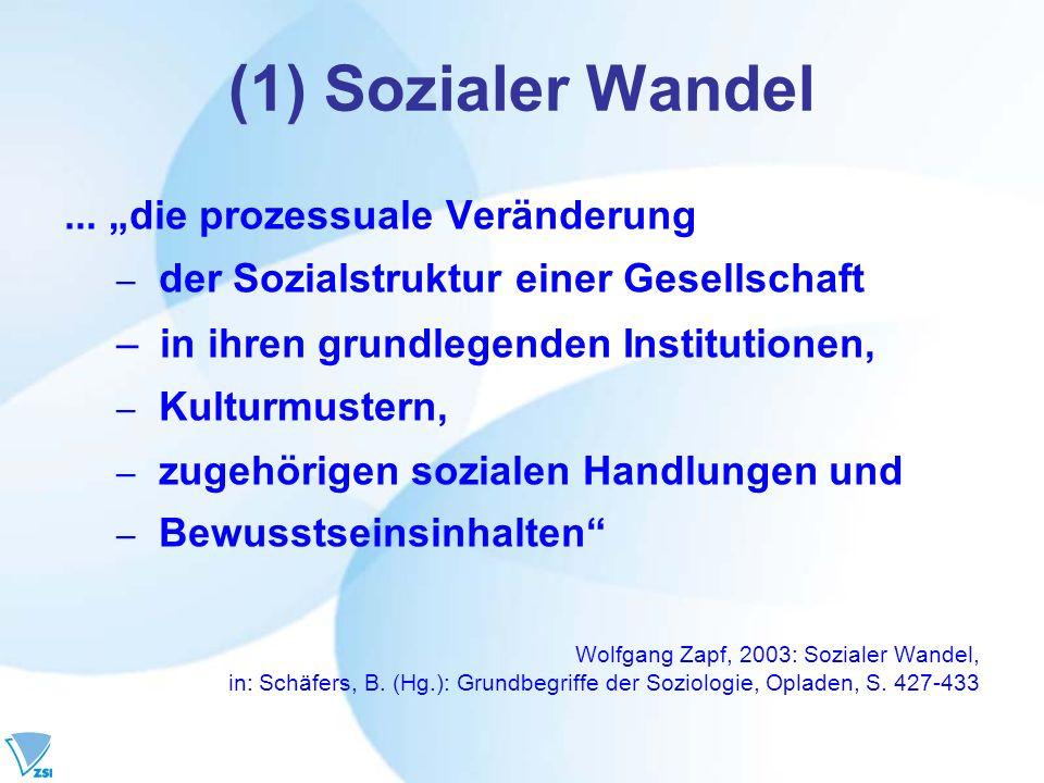 (1) Sozialer Wandel... die prozessuale Veränderung – der Sozialstruktur einer Gesellschaft – in ihren grundlegenden Institutionen, – Kulturmustern, –