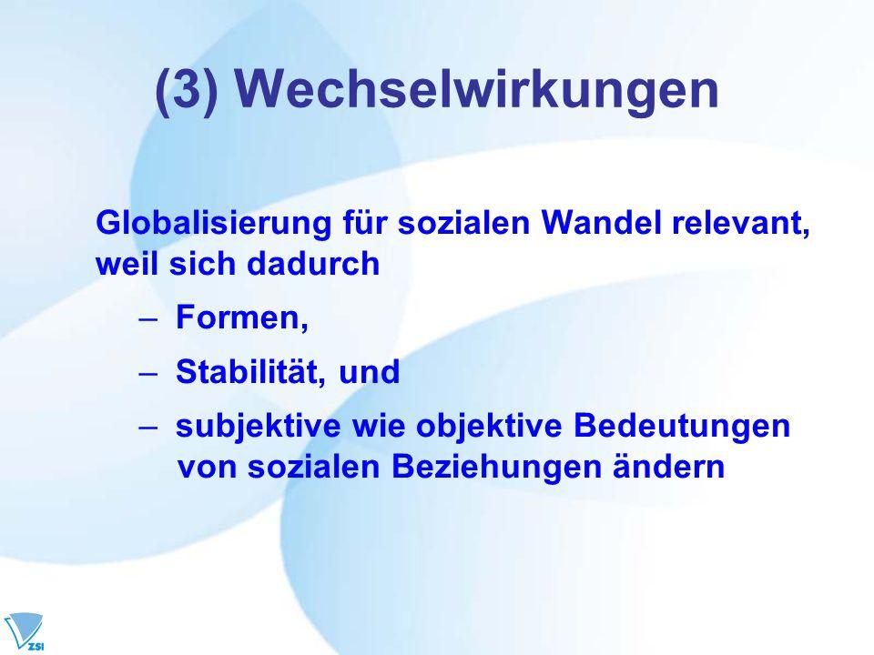 (3) Wechselwirkungen Globalisierung für sozialen Wandel relevant, weil sich dadurch – Formen, – Stabilität, und – subjektive wie objektive Bedeutungen