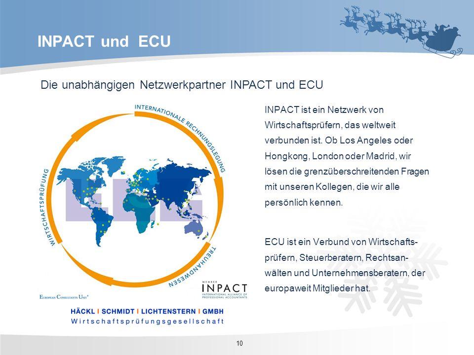 Die unabhängigen Netzwerkpartner INPACT und ECU INPACT ist ein Netzwerk von Wirtschaftsprüfern, das weltweit verbunden ist. Ob Los Angeles oder Hongko