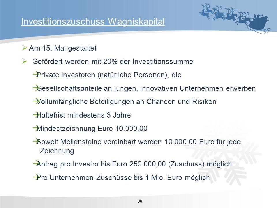 Am 15. Mai gestartet Gefördert werden mit 20% der Investitionssumme Private Investoren (natürliche Personen), die Gesellschaftsanteile an jungen, inno