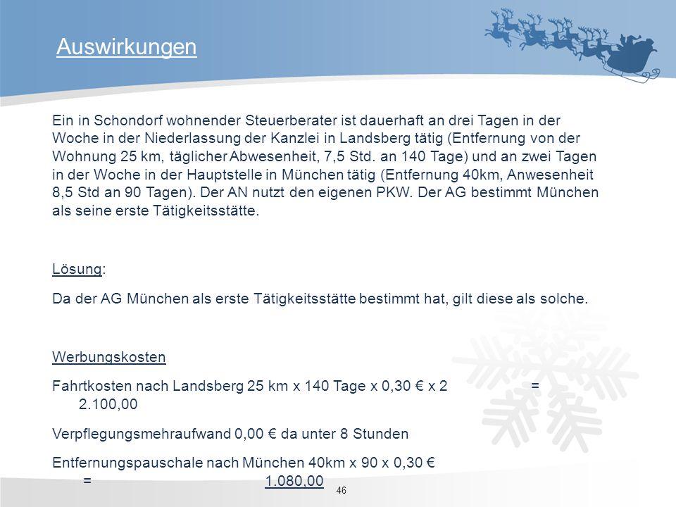 Ein in Schondorf wohnender Steuerberater ist dauerhaft an drei Tagen in der Woche in der Niederlassung der Kanzlei in Landsberg tätig (Entfernung von