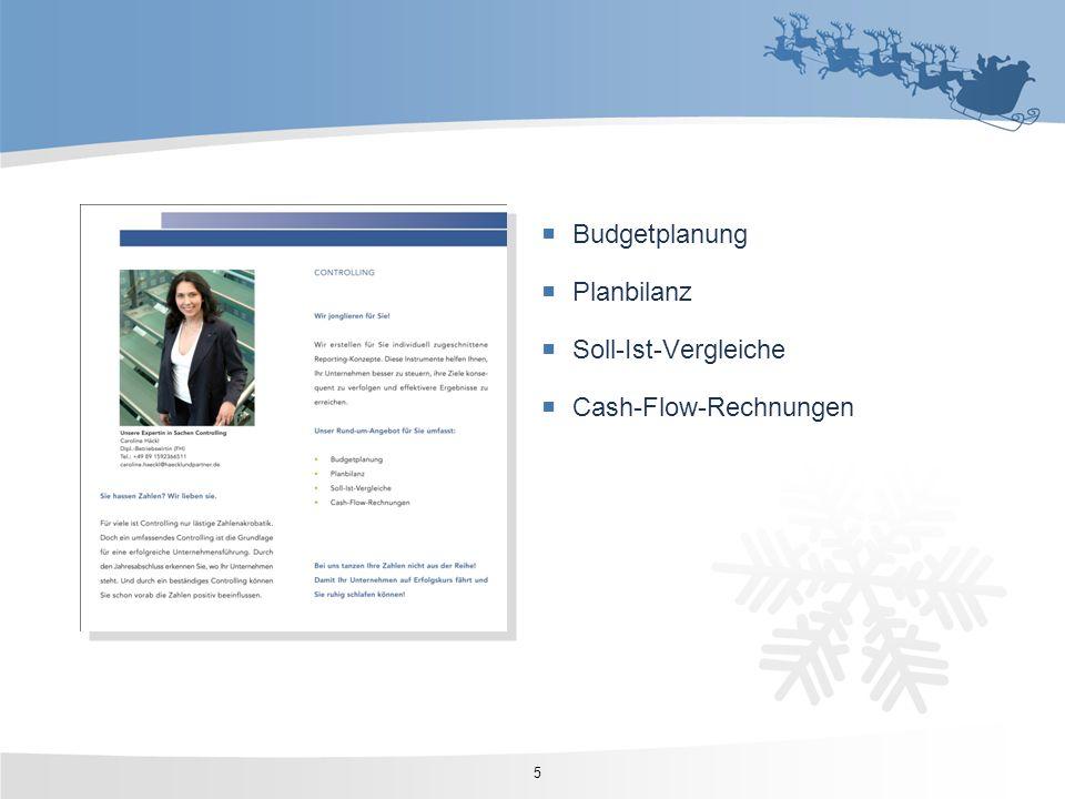 Budgetplanung Planbilanz Soll-Ist-Vergleiche Cash-Flow-Rechnungen 5