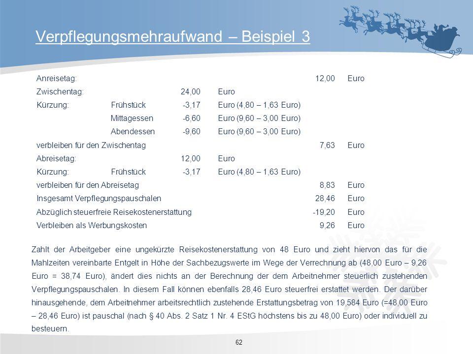 62 Verpflegungsmehraufwand – Beispiel 3 Anreisetag:12,00Euro Zwischentag:24,00Euro Kürzung:Frühstück-3,17Euro (4,80 – 1,63 Euro) Mittagessen-6,60Euro