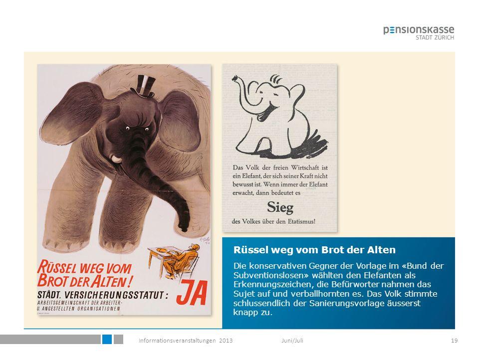 Informationsveranstaltungen 2013 Juni/Juli19 Rüssel weg vom Brot der Alten Die konservativen Gegner der Vorlage im «Bund der Subventionslosen» wählten den Elefanten als Erkennungszeichen, die Befürworter nahmen das Sujet auf und verballhornten es.