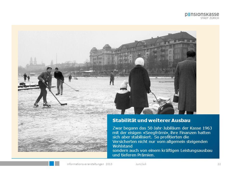 Informationsveranstaltungen 2013 Juni/Juli22 Stabilität und weiterer Ausbau Zwar begann das 50-Jahr-Jubiläum der Kasse 1963 mit der eisigen «Seegfrörni», ihre Finanzen hatten sich aber stabilisiert.