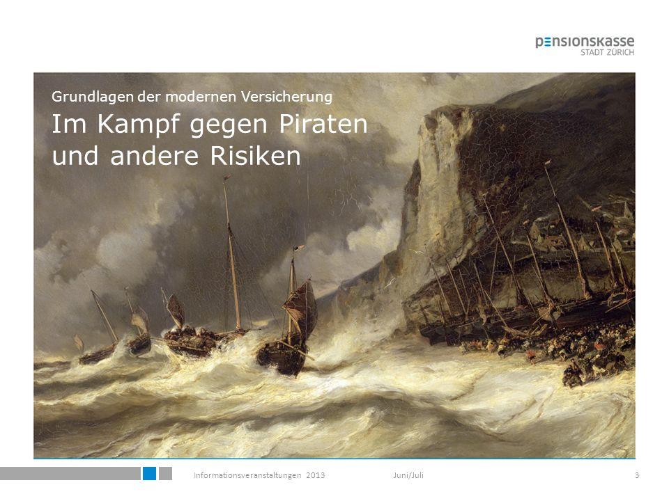 Informationsveranstaltungen 2013 Juni/Juli3 Grundlagen der modernen Versicherung Im Kampf gegen Piraten und andere Risiken